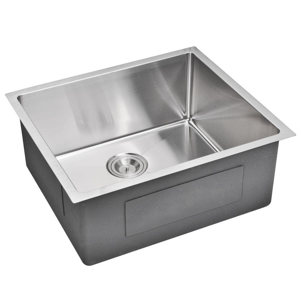 Water Creation 23 Inch X 20 Inch 15 Mm Corner Radius Single Bowl Stainless Steel Hand Made Undermount Kitchen Sink Single Bowl Kitchen Sink Sink Undermount Kitchen Sinks