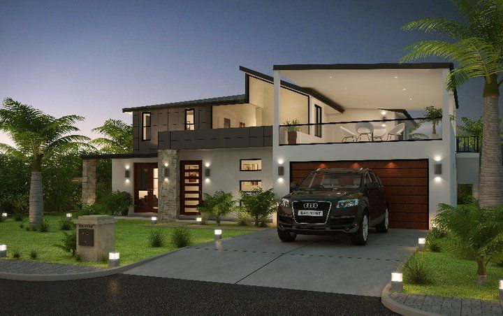 3d front modern form house front elevation for Modern house 52