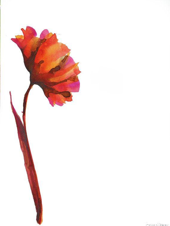 Original flower drawing on paper - Ink wash color/ watercolor/modern art flower/contemporany painting  flower/pink orange purple red brown