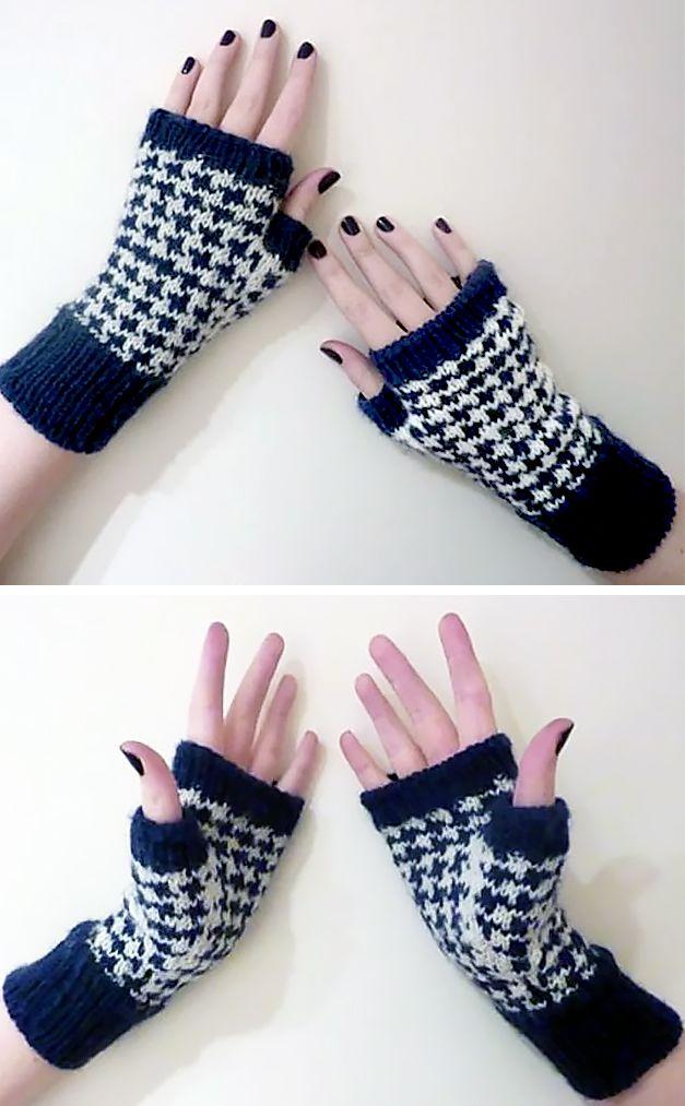 Houndstooth Handwarmers Knitting pattern by Ellen Gill ...
