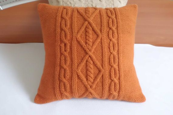 Fine Custom Burned Orange Cable Knit Pillow Case Throw Pillow Theyellowbook Wood Chair Design Ideas Theyellowbookinfo