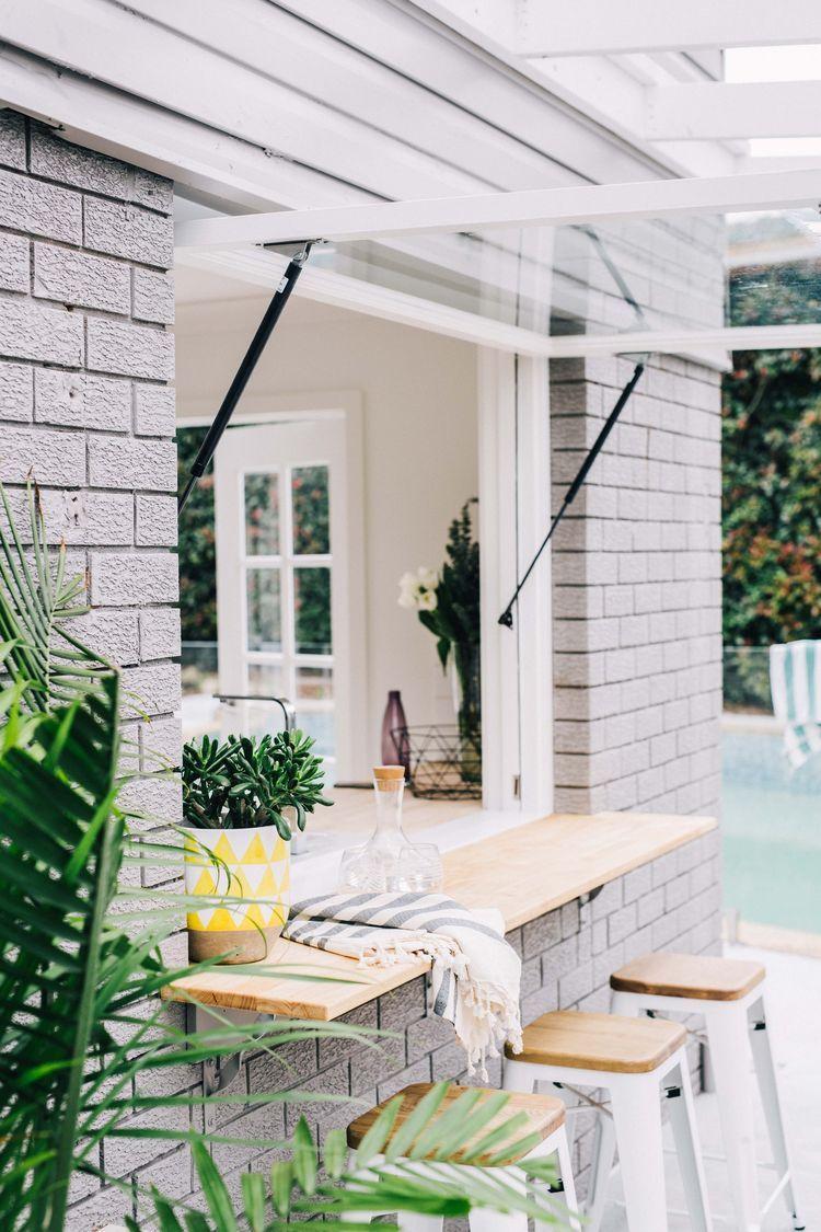 Bar outside kitchen window  gas strut windows  yard space  pinterest  window house and backyard