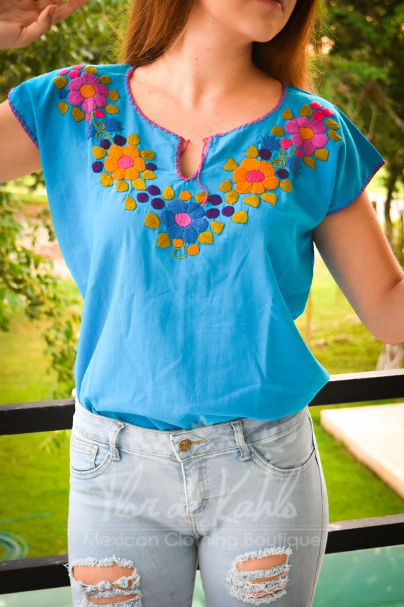 INDIE Mexican Hand Embroidered Blue Blouse / Olive Colors