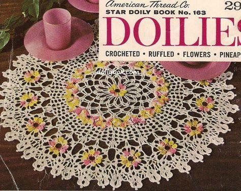 Free Vintage Crochet Comos Flower Doily Pattern Doilies Pinterest