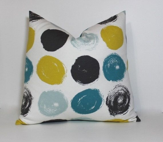 Best Teal Charcoal Mustard Pillow Covers Modern Brushed 640 x 480