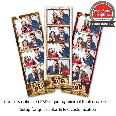 Rawhide Celebration 4-up Strips Photo Booth Template Wood - 4up template