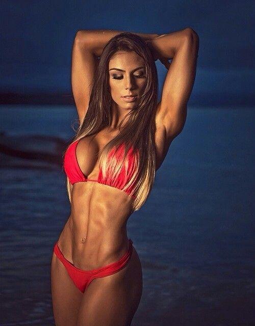 Curvy fitness women posing in bikini