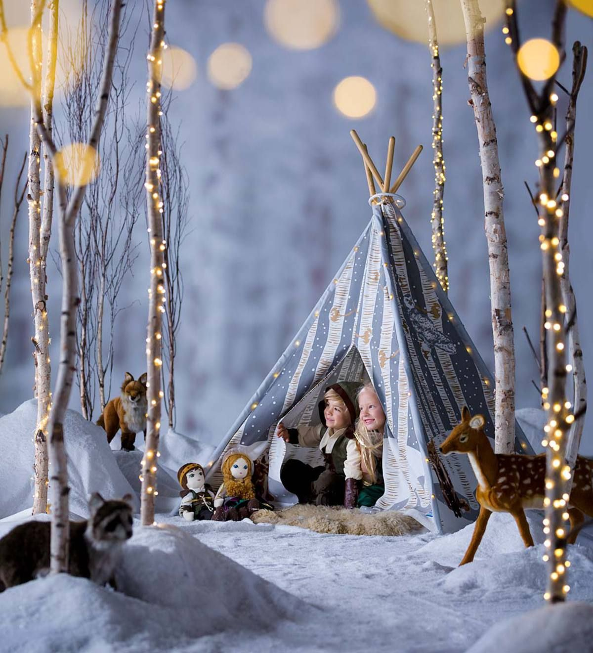 Our Winter Woodland 4Pole Teepee is made from cotton and