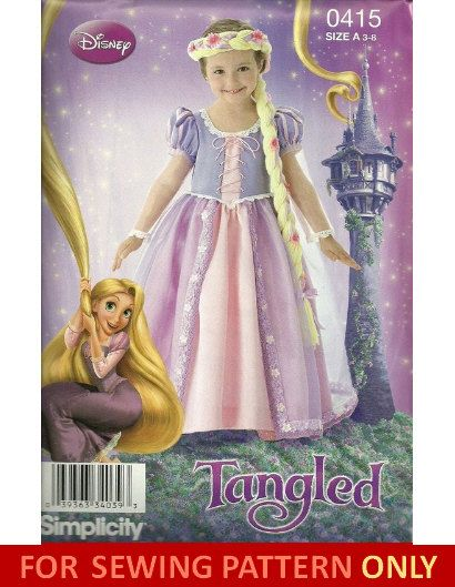 COSTUME SEWING PATTERN Tangled Disney Rapunzel Child Size 40 Classy Disney Sewing Patterns