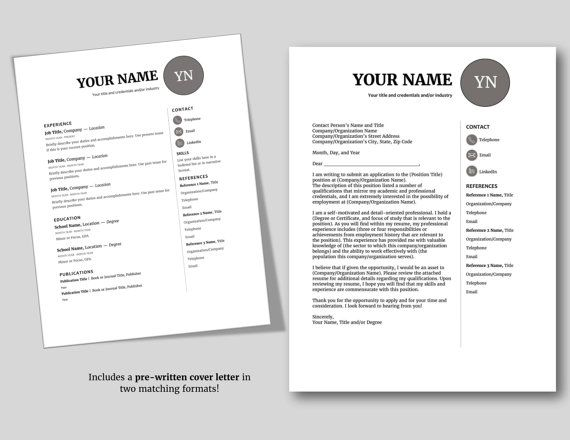 Modern Resume Template Professional Resume Cv Template Instant