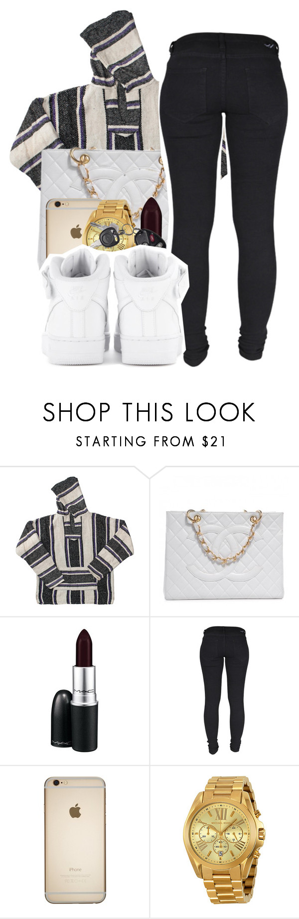 """""""262"""" by tuhlayjuh ❤ liked on Polyvore featuring American Apparel, Chanel, MAC Cosmetics, Dr. Denim, Michael Kors and NIKE"""