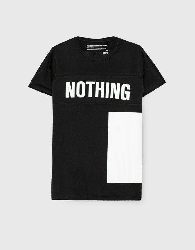 59de431695 T-shirt texto preta - Blusas - Vestuário - Homem - PULL BEAR Portugal