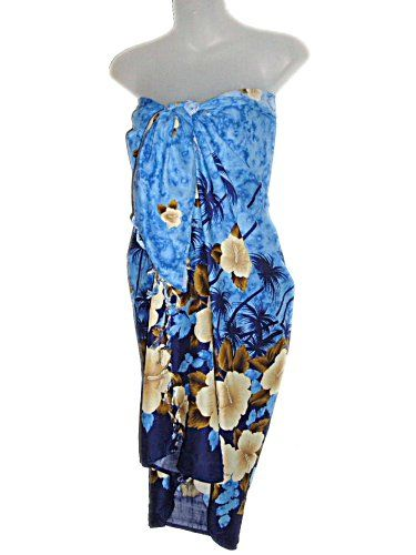 72ff28786a HAWAIIAN HIBISCUS & PALM TREES BLUE SARONG East of Maui Hawaiian Store  http:/