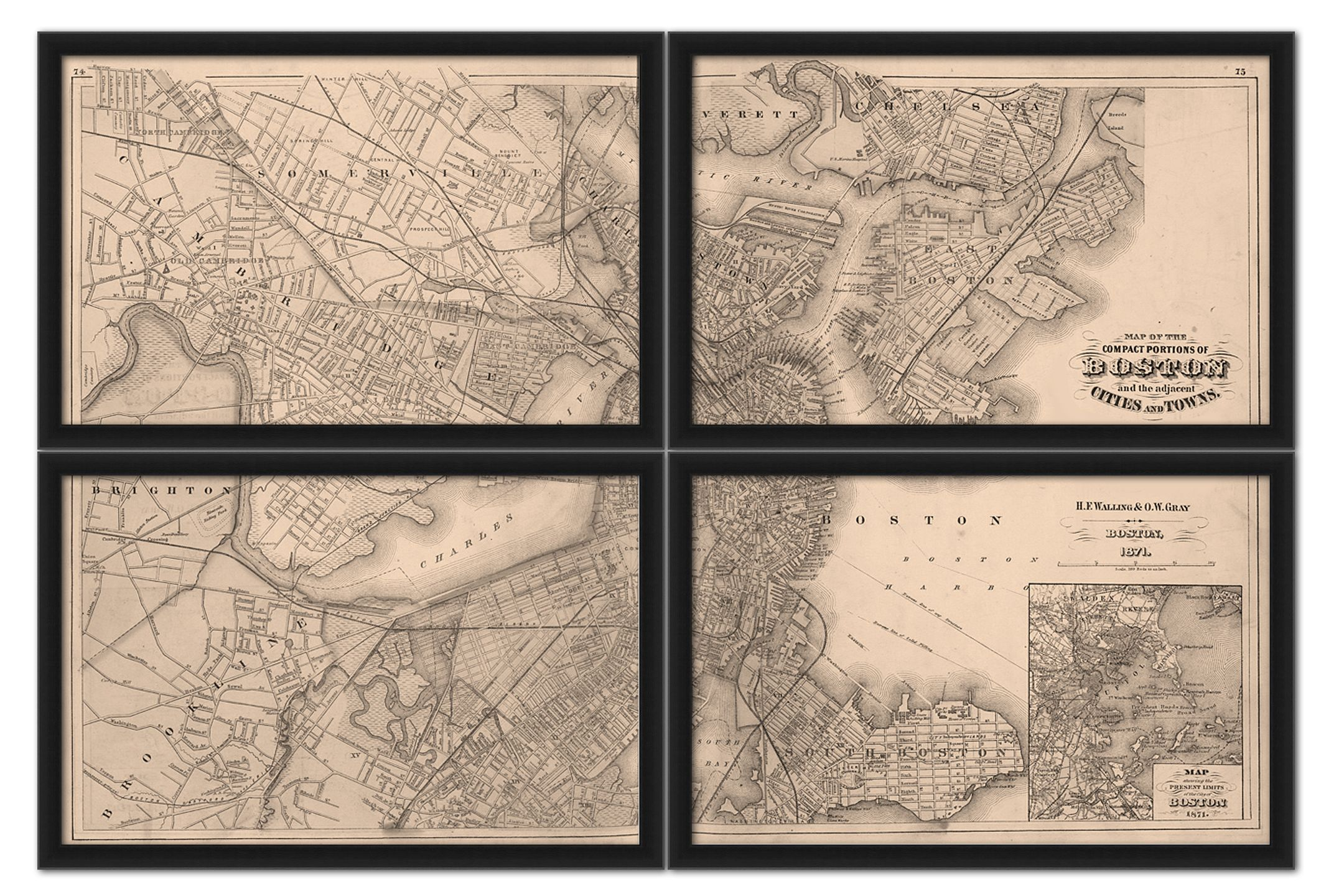 Map of Boston 1817 in 4 sectionals https://www.etsy.com/shop/Imagerich?ref=pr_shop_more #boston