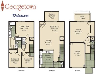 3 Storey House Plans image result for 2 story townhouse floor plans   1444 s alabama