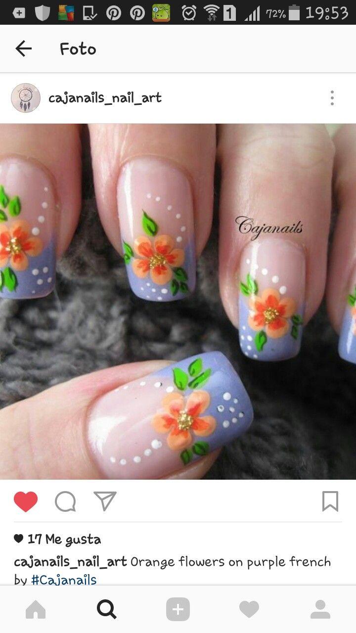 uñas frances lila flor naranja   Uñas diseños flores fáciles ...