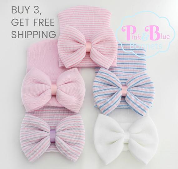Baby Newborn Girl Infant Toddler Bowknot Beanie Cute Hat Hospital Cap Comfy PDH