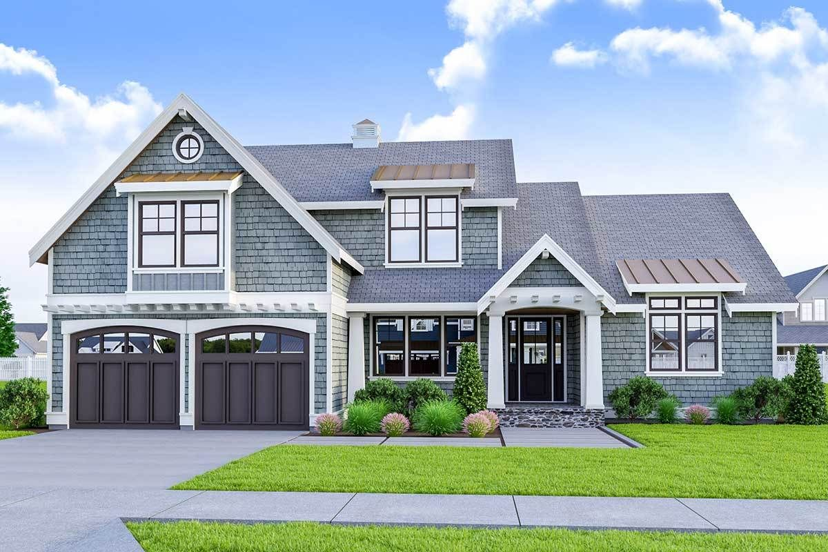 Plan 280060JWD Twostory Craftsman Home Plan with Covered