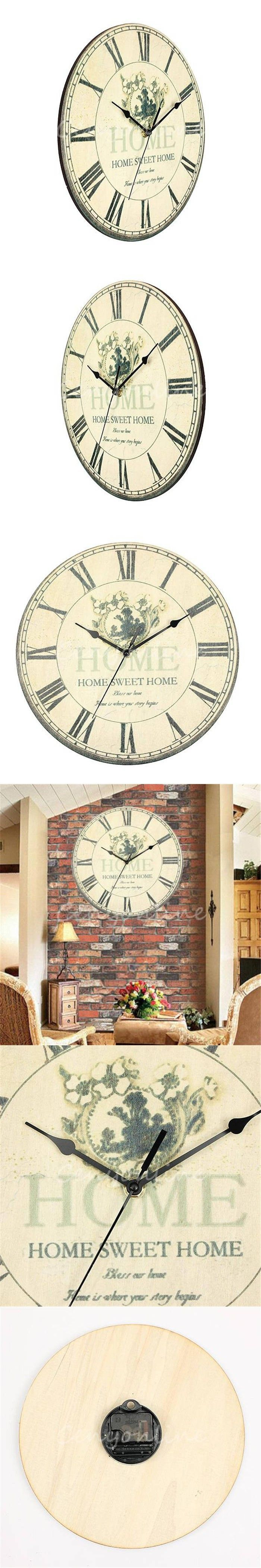 Large beauty love wall clock flower vintage rustic design home