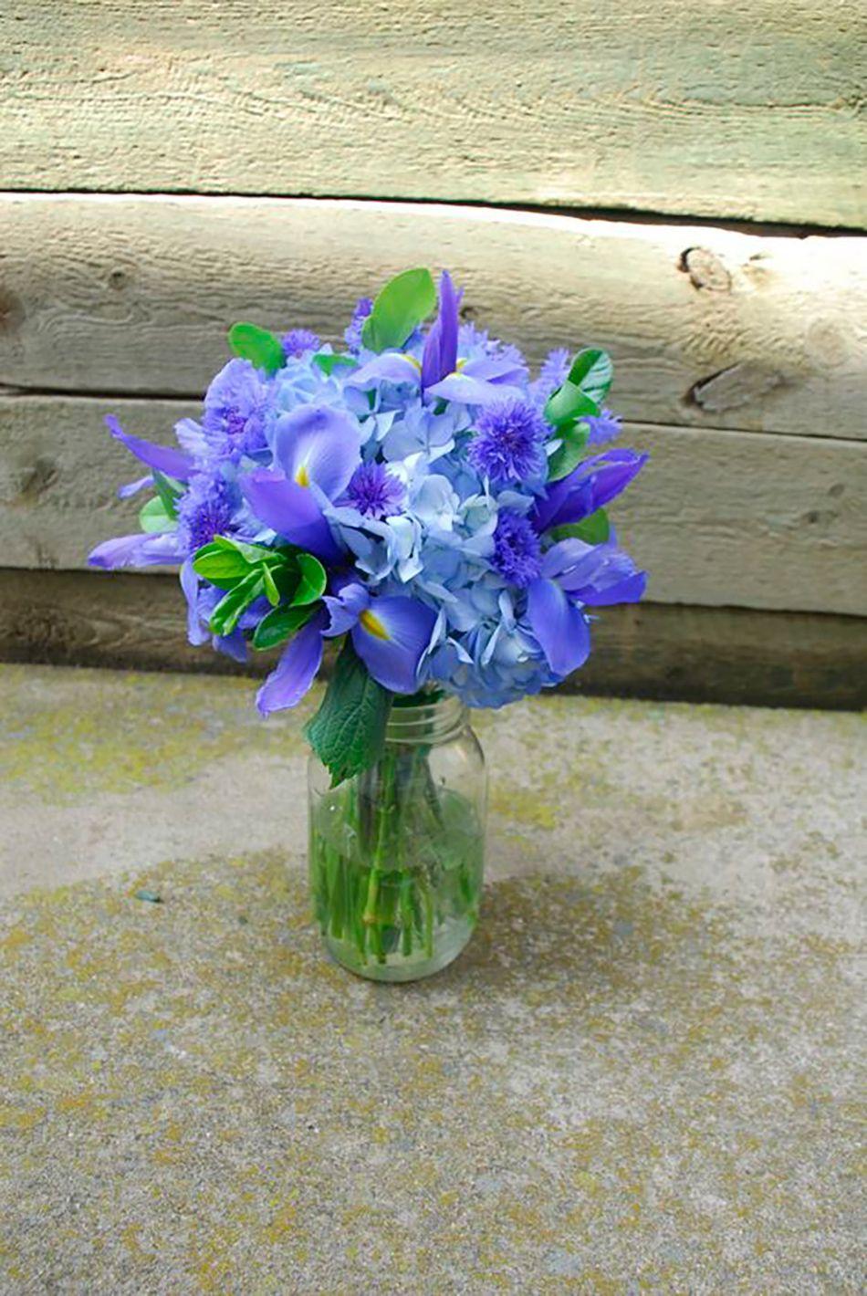 Blue iris in a jar blue wedding flowers purple wedding