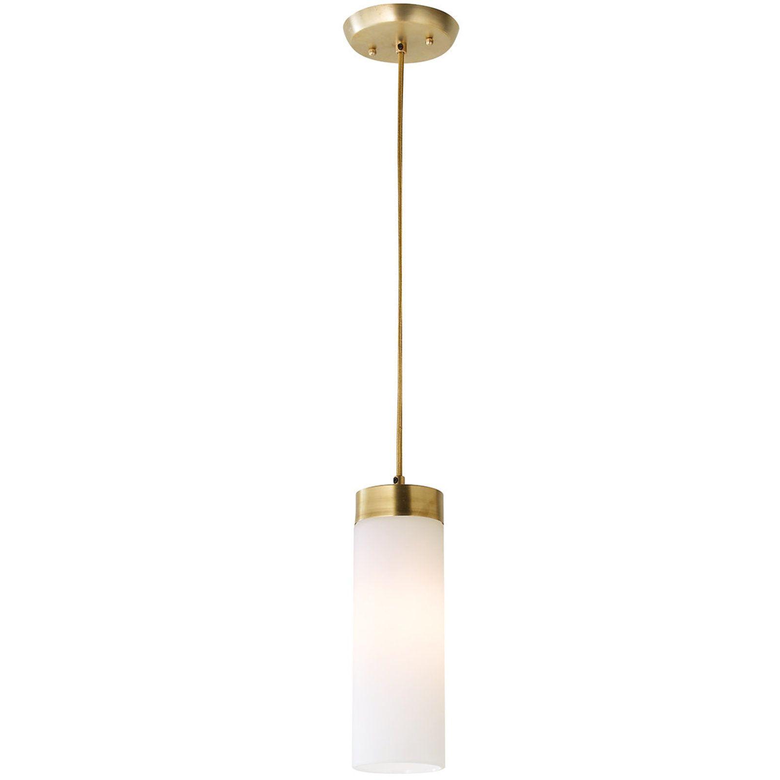 Brass Band Cylinder Pendant Glass Cylinder Pendant Light