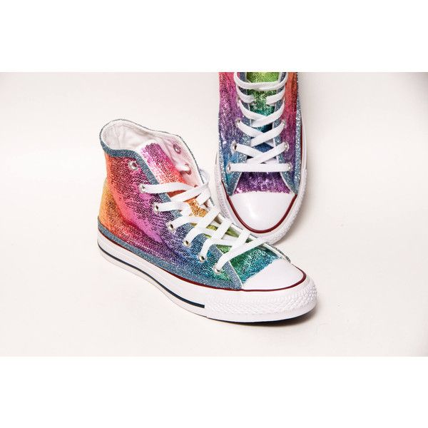 e1586bf33b28 Sequin Rainbow Multi Color Custom Canvas Converse Hi Top Sneakers... ( 135)  ❤ liked on Polyvore featuring shoes