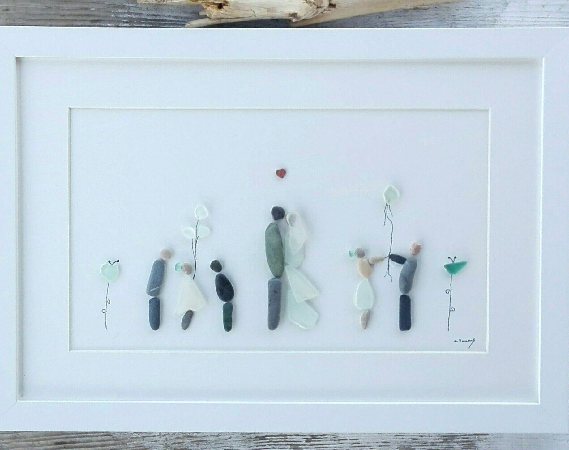 pebble art wedding,personalized wedding,  wedding unique, bridal family picture, sea glass art, pebble art picture, anniversary wedding #personalizedwedding