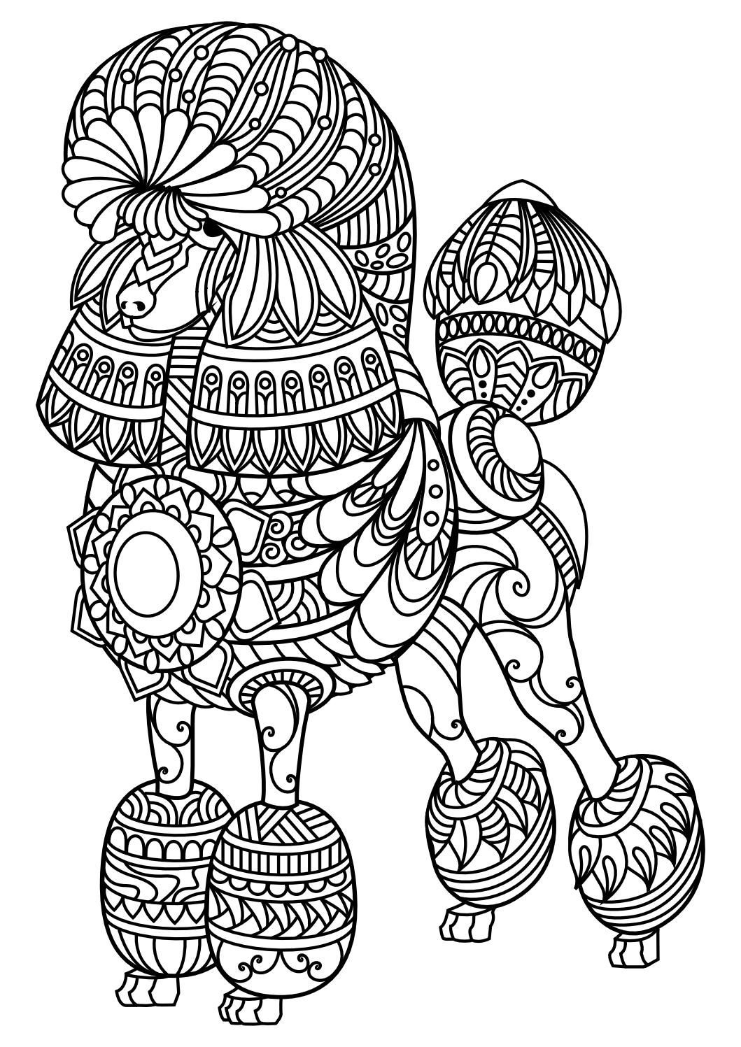 Animal coloring pages pdf Mandala coloring pages, Dog