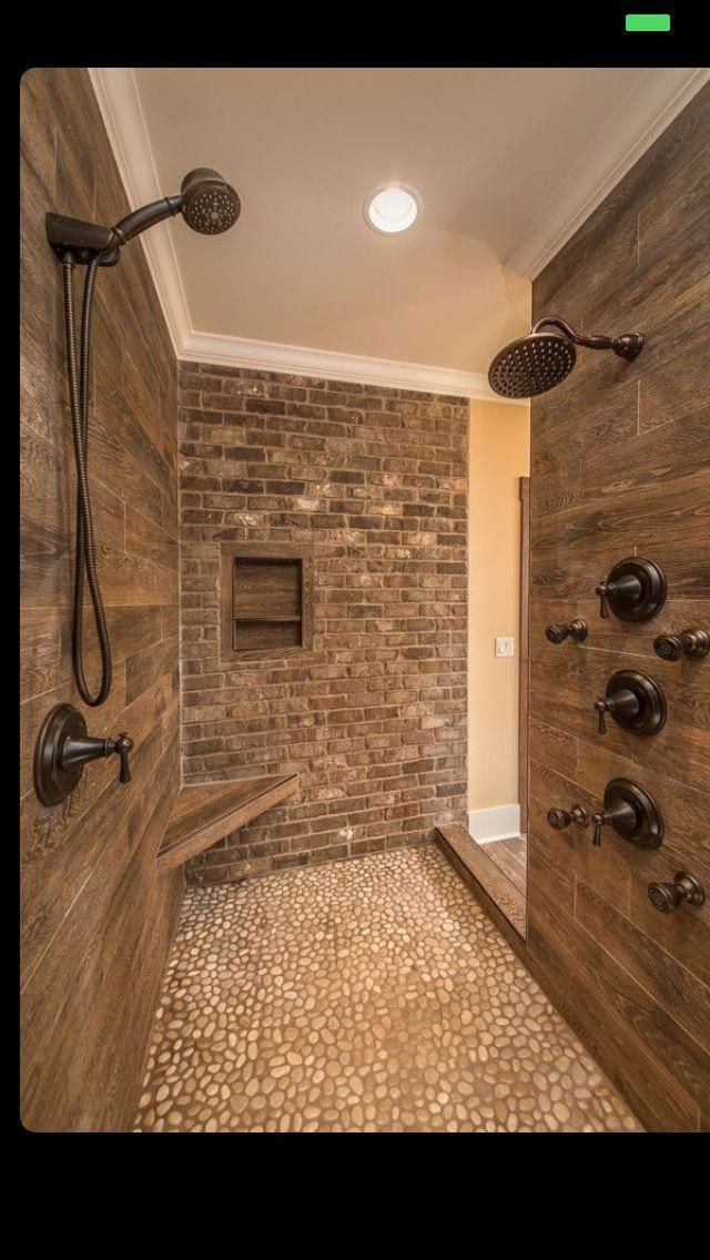 love those wood tiles for the shower walls