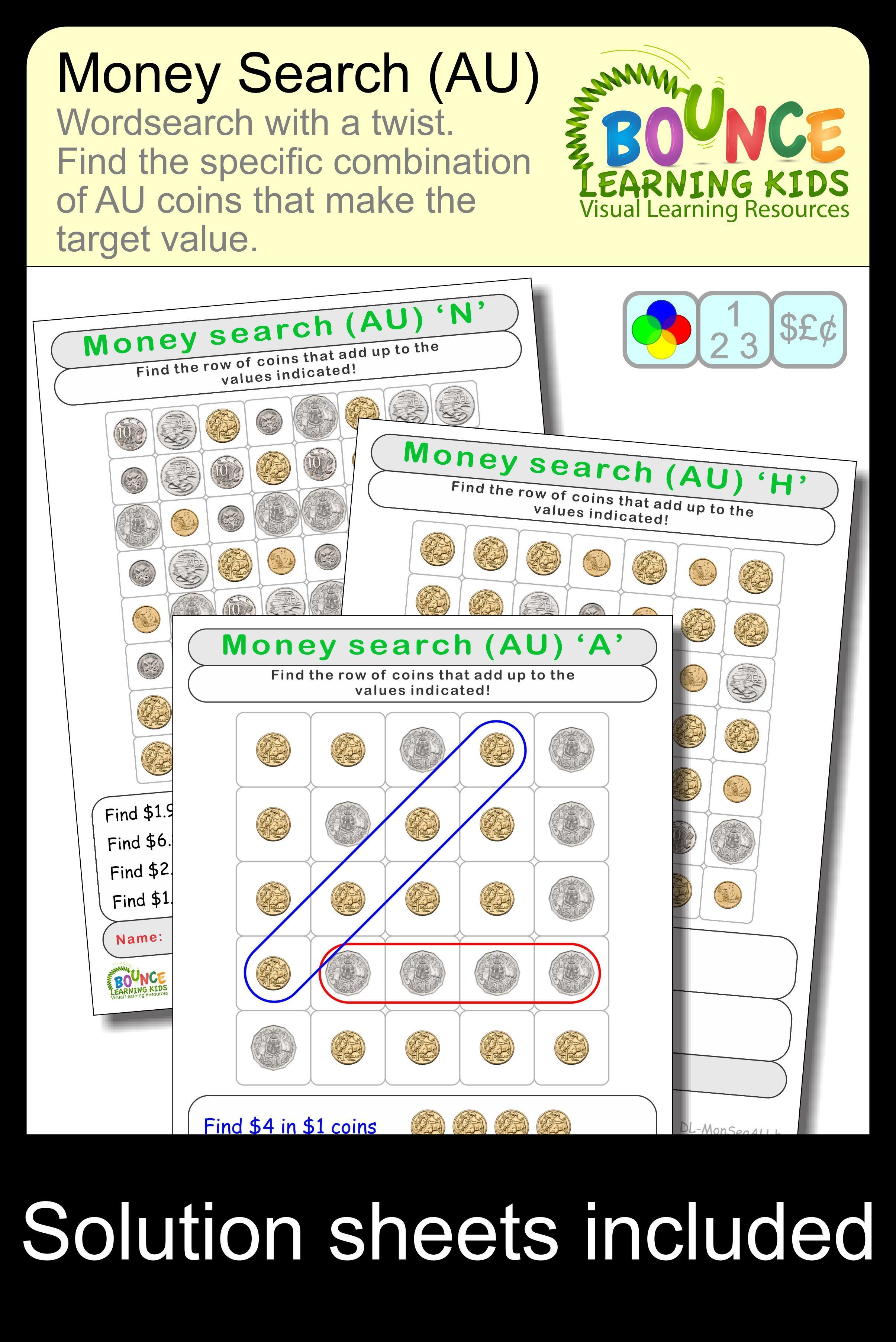 Wordsearch Using Australian Coins 16 Distance Learning