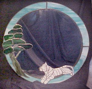 Tiger and Tree Custom Stained Glass Mirror by Johnna. Custom orders Welcomed.