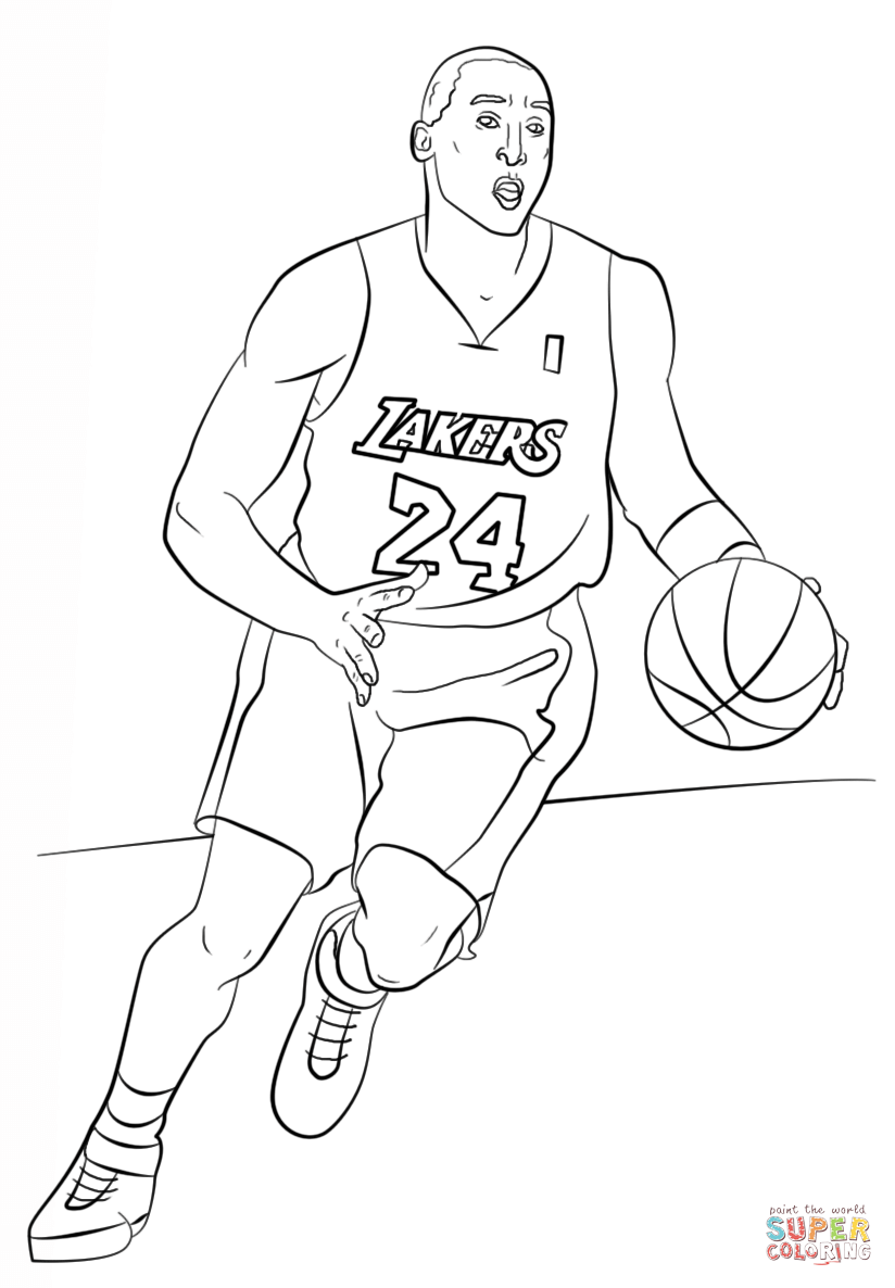 Kobe Bryant Coloring Page Free Printable Coloring Pages Sports Coloring Pages Lebron James Images Coloring Pages Inspirational