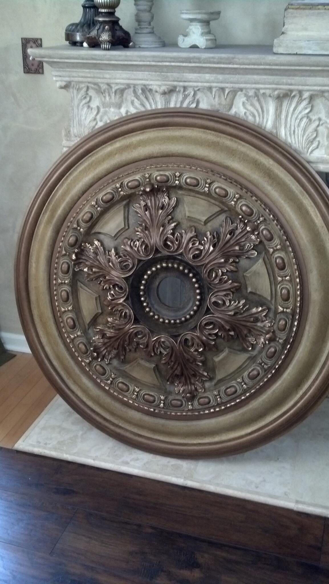 royal ceiling medallion store turquoise look exquisite painted vintage bronze brass hand