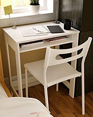 Ikazs Wood Computer Moving Desk WhiteSimple White