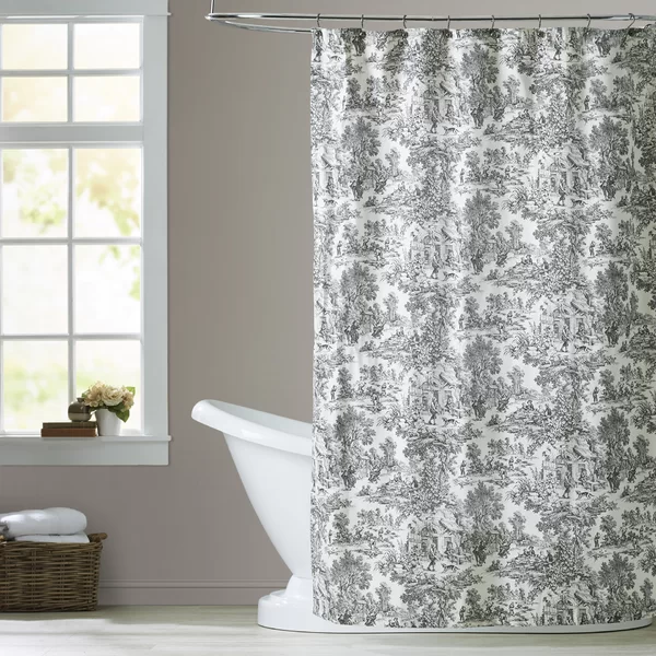 Gatineau Cotton Toile Single Shower Curtain Brown Shower Curtain