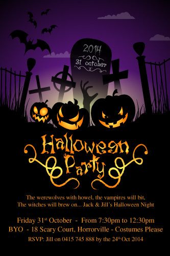 Pumpkin Grave   Halloween Party Digital Printable Invitation Template
