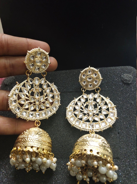 Ethnic Indian Bollywood Gold Tone Pearl Jhumka Jhumki Kundan Earrings Jewelry
