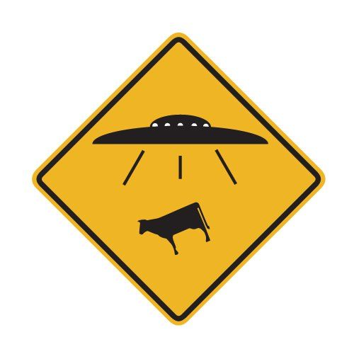 UFO Alien Cow Abduction Traffic Sign Repositionable Wall