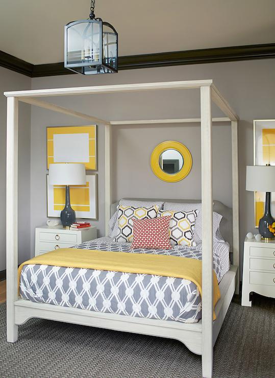 Gray And Yellow Bedroom, Contemporary, Bedroom, Andrew Howard Interior  Design