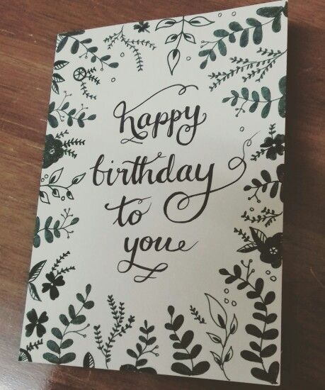 Hand drawn leaves and flowers motive For a birthday card or any – Doodle Birthday Card
