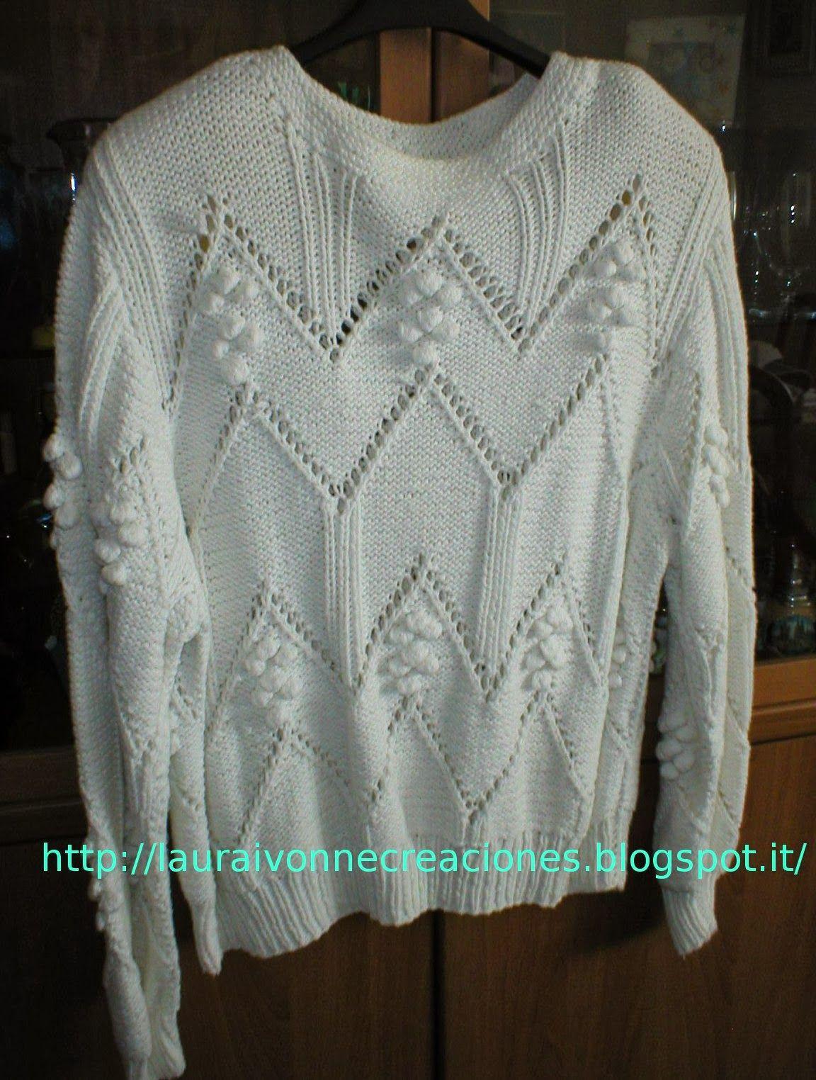 Laura Ivonne Creaciones: Buzo o jersey en 2 agujas tejido por mi madre