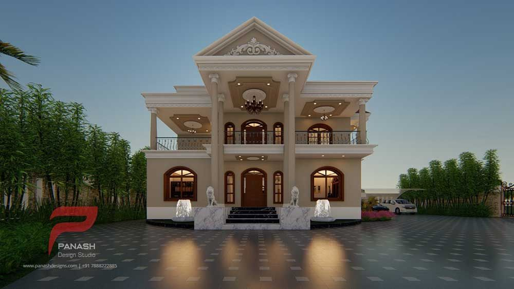 Residential Elevation Panash Design Studio Classic House Design 3 Storey House Design House Design Photos Traditional house plan and elevation
