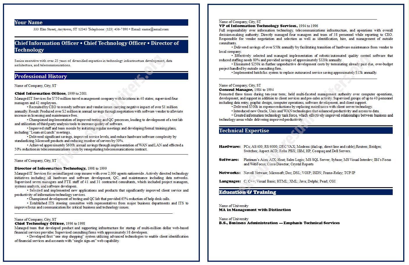 CIO Resume Format2014 http//www.executiveresumewriters