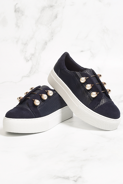 c02eff1d09e0 Kurt Geiger Trainers - Spring Summer Trainers - Blue Trainers with pearl