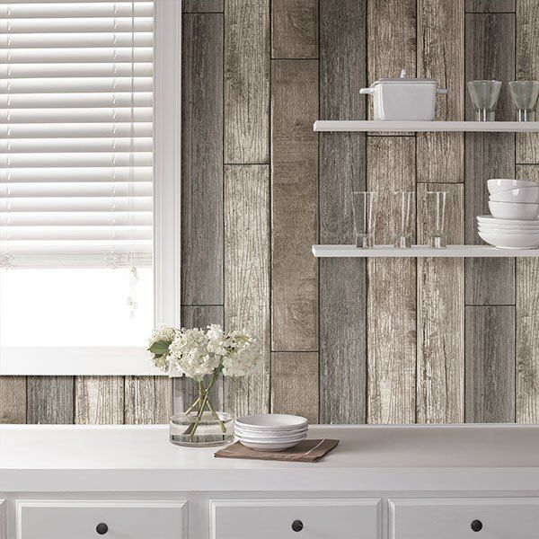 Reclaimed Wood Plank Natural Peel And Stick Wallpaper Wood Plank Wallpaper Wood Planks Peel And Stick Wallpaper