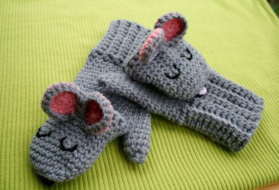 Crochet Pattern Crochet Fingerless Mittens Crochet Sleepy Mouse