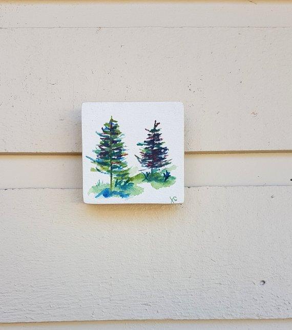 Watercolor Pine Tree Mini Art Piece Tiny Tree Painting On A Wood
