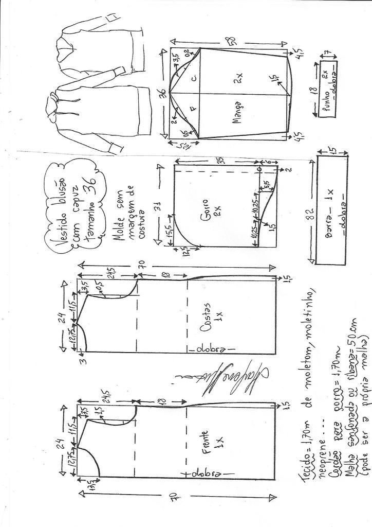 Vestido blusão com capuz | DIY - molde, corte e costura - Marlene ...