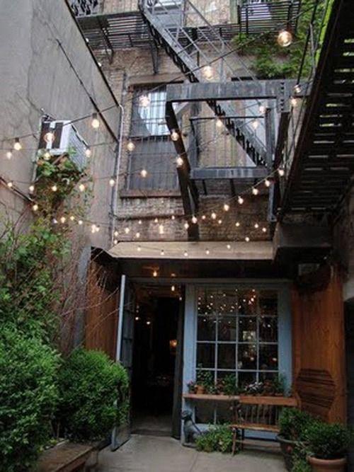 Backyard lighting.