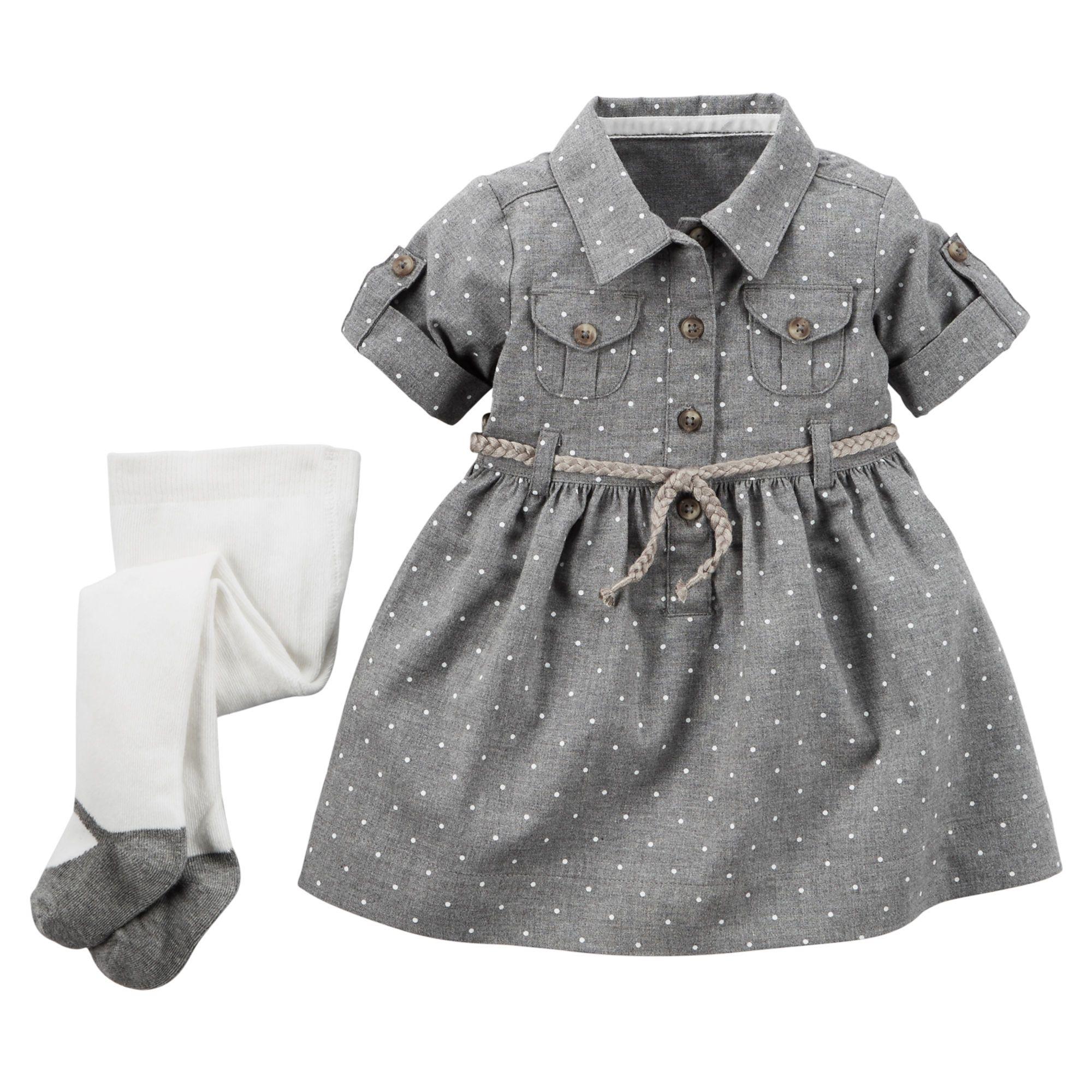 2 Piece Shirt Dress & Tights Set